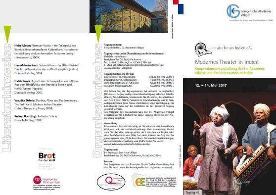 Tagungsprogramm Literaturforum Indien 2017 - Modernes Theater in Indien
